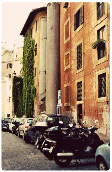 Rome Italy Houses and Scooters