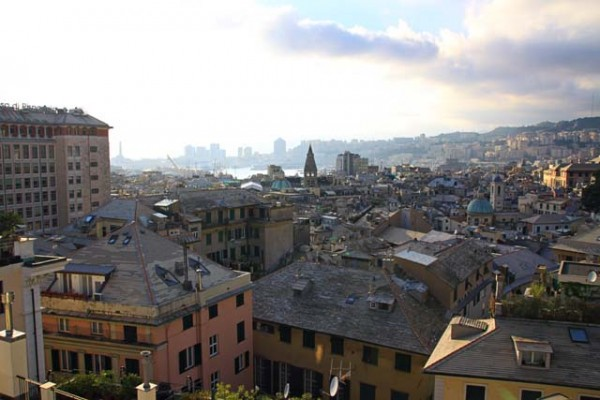 view from penthouse city hotel best western genoa italy